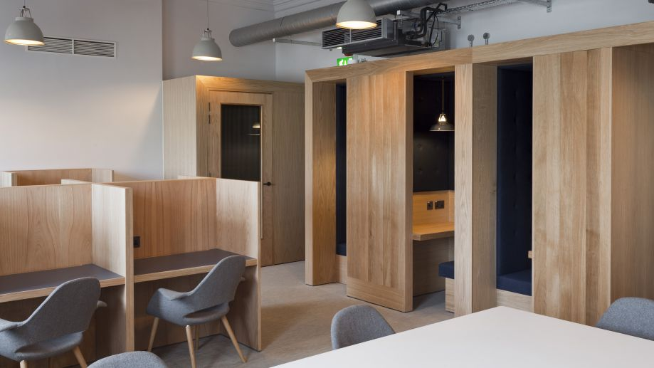 Focus booths and co-working space at TOG building at 19 Eastbourne Terrace Paddington London