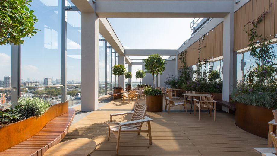 Beautifully furnished roof terrace with plants at TOG building at 20 Eastbourne Terrace London Paddington