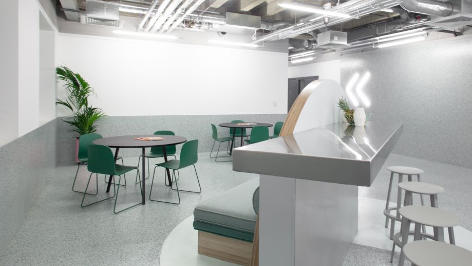 Elegant grey and green kitchen in TOG building at 2 Angel Square London