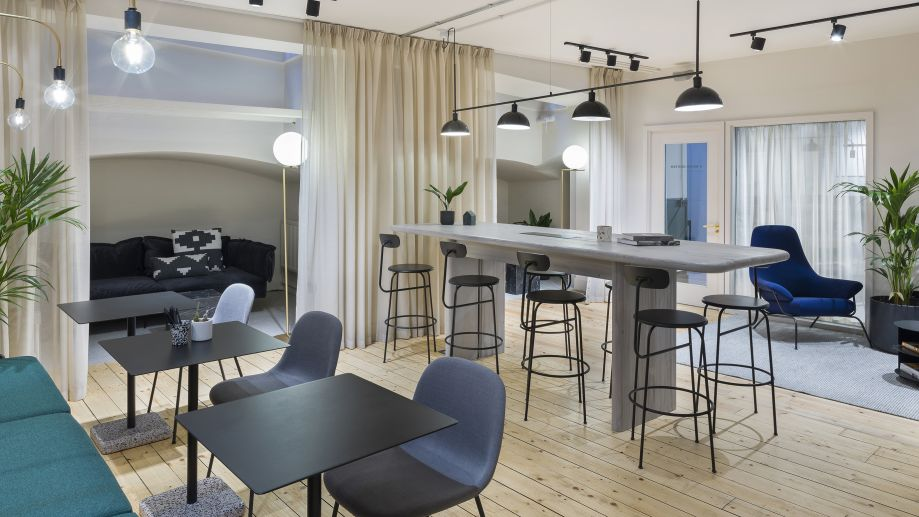 Large airy co-working space in blue and grey at TOG building at 24 Greville Street London