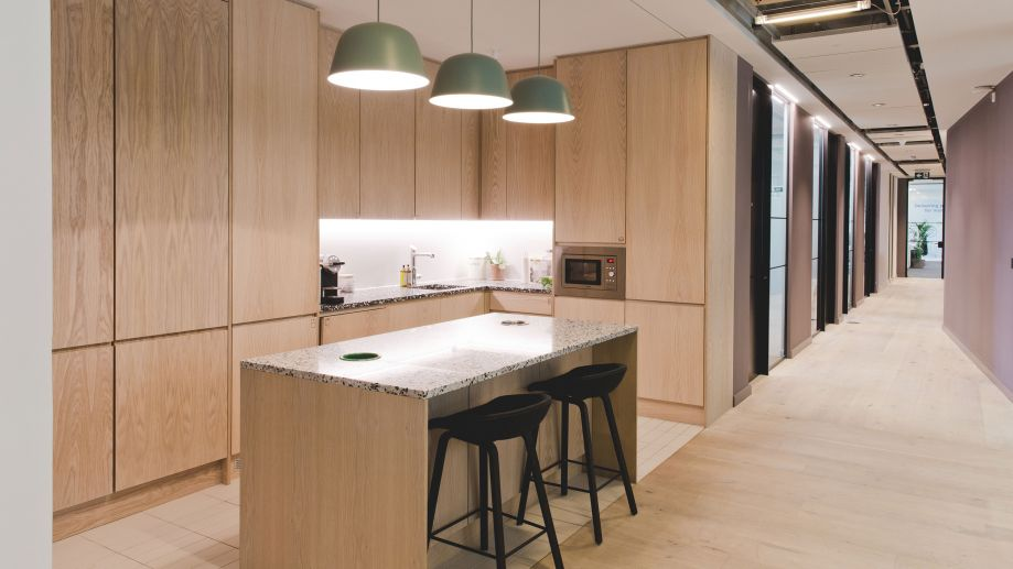 Bright and airy kitchen at TOG building at 2 Stephen Street London