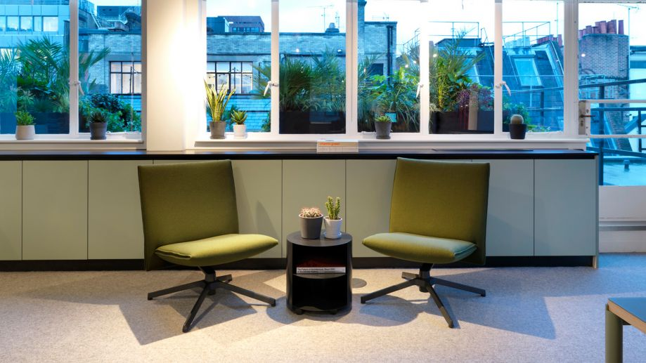 Two chairs in lounge space at TOG building Wardour Street Soho