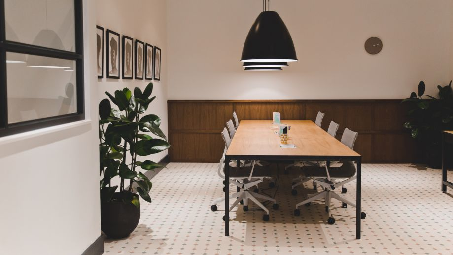 Large table seating for 6 in coworking space at TOG building Warnford Court City of London